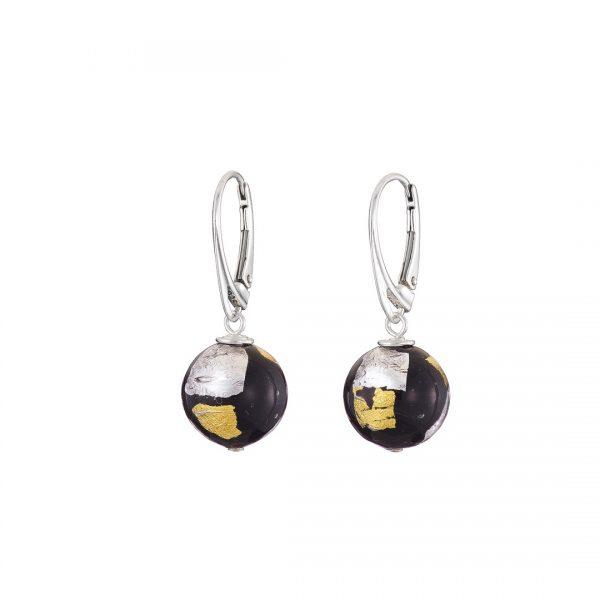 Handmade designer Sterling silver and black Murano glass round earrings