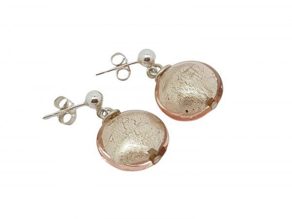 Handmade designer sterling silver and blush pink Murano glass lentil earrings