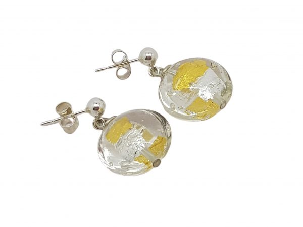 Clear/Gold Lentil Murano Glass & Sterling Silver Earrings