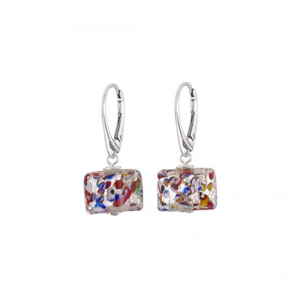 Handmade designer Sterling silver and Murano glass cube earrings
