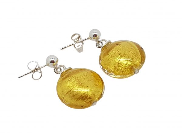 Handmade designer sterling silver with 24k gold foil Murano glass lentil earrings