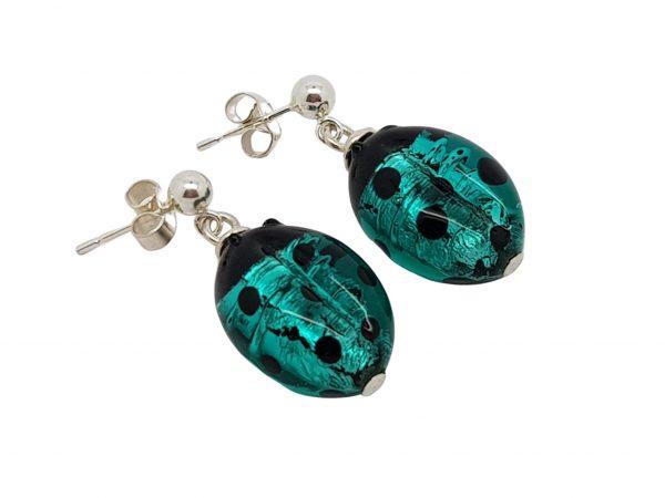 Seafoam Polka Dots Ladybug Murano Glass & Sterling Silver Earrings