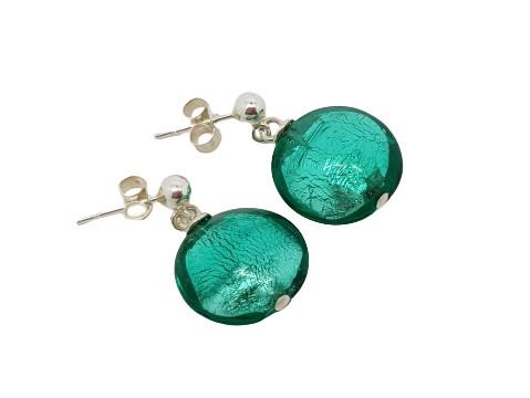 Handmade designer sterling silver and seafoam Murano glass lentil earrings