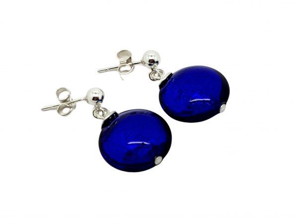 Handmade designer sterling silver with cobalt blue Murano glass lentils earrings