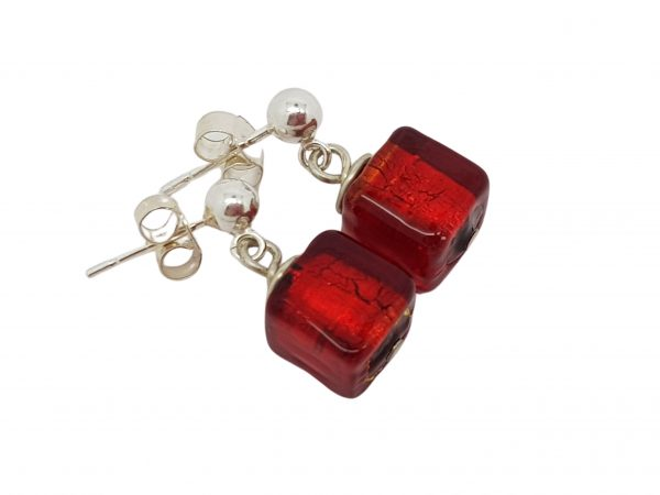 Handmade designer sterling silver with red Murano glass cube earrings