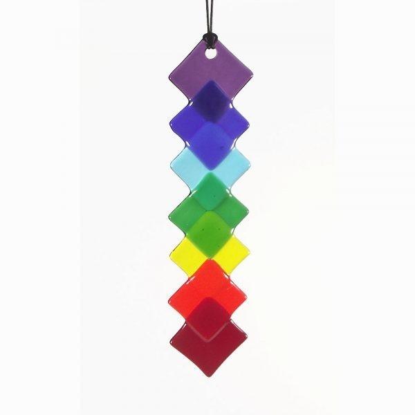 fused-glass rainbow / chakra diamond suncatcher