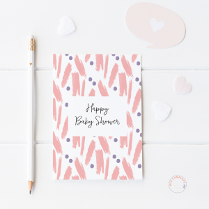 Happy Baby Shower Pink Paint Card