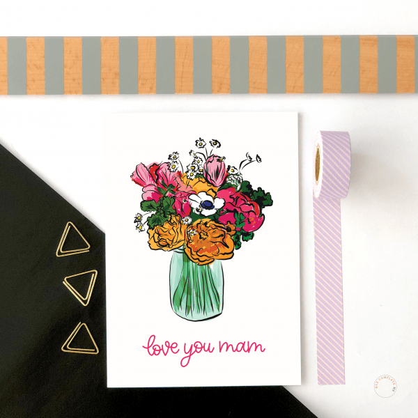 Love You Mam Floral Card - love you mam new mockup 1