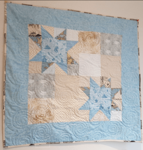 Quilted Stars Block Baby Quilt - sawtooth1
