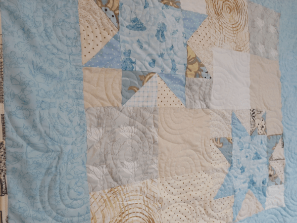 Quilted Stars Block Baby Quilt - sawtooth2