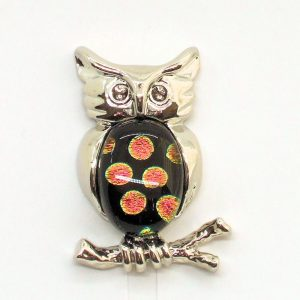 Fused-Glass Jewellery Owl Brooch - 105