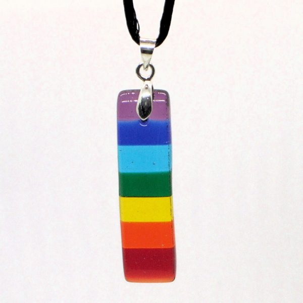 Fused-Glass Jewellery Rainbow / Chakra / Pride Pendant - 140