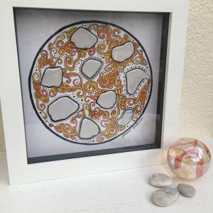 Orange Art With Sea Glass