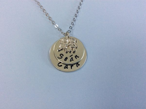 Silver Mum of Two Necklace with Boy and Girl Charm - 1F004FF9 EFBE 4C7E 8023 68BAFF4EEAD5