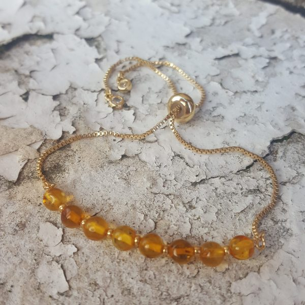 Baltic Honey Amber Slider Bracelet