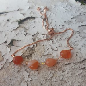 Carnelian and Swarovski Rose Gold Plated Slider Bracelet