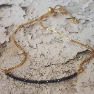 Black Spinel Gold Plated Slider Bracelet