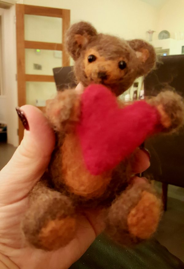 My Heart is Yours, Needlefelted Teddy Bear - 20210124 135221