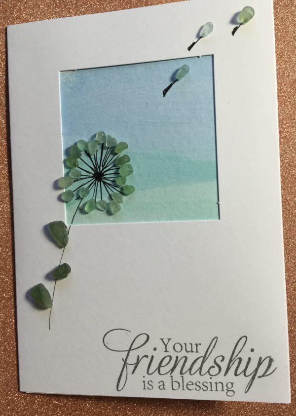 Seaglass and Watercolour Friendship Card