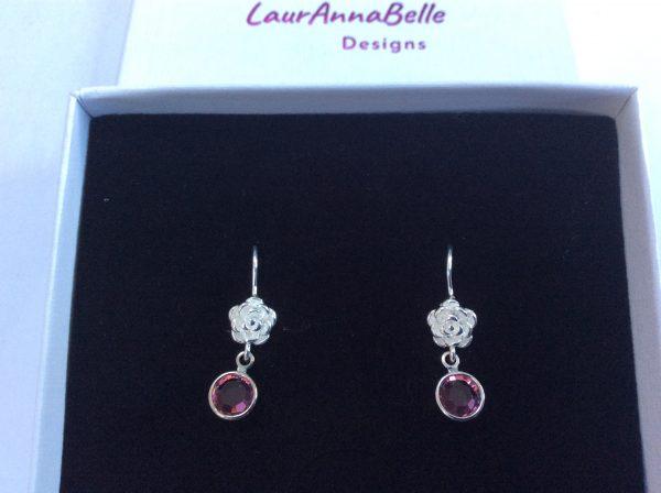 Silver Birthstone with Flower Earrings - 319BA096 7D04 420E B613 9C994E9679FA