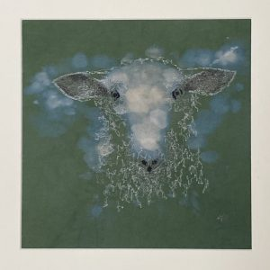 Embroidered and Hand Painted Sheep Wall Art 1