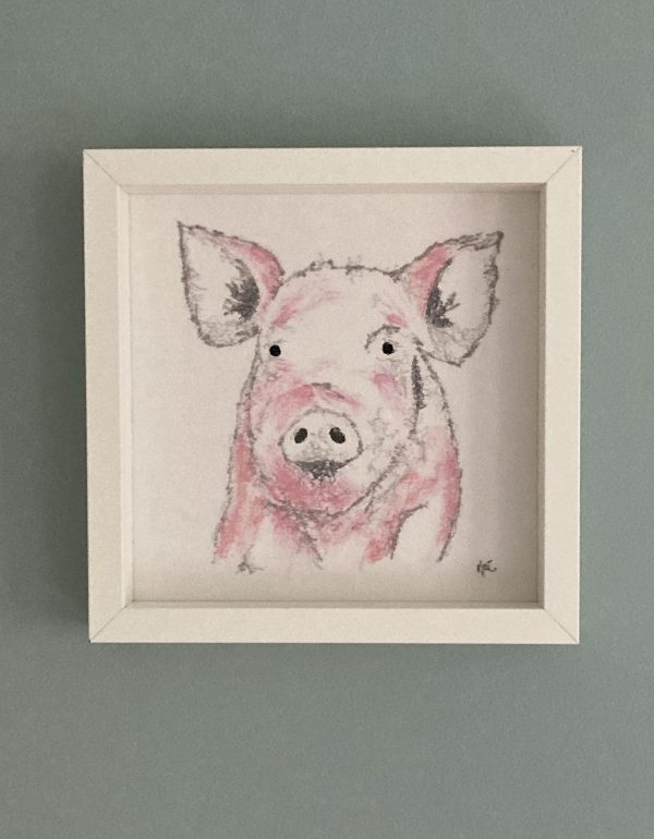 Embroidered and Painted Pig Frame 1