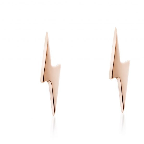 Tiny Lightning Bolts Rose Gold Stud Earrings