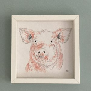 Embroidered and Painted Pig Frame 2