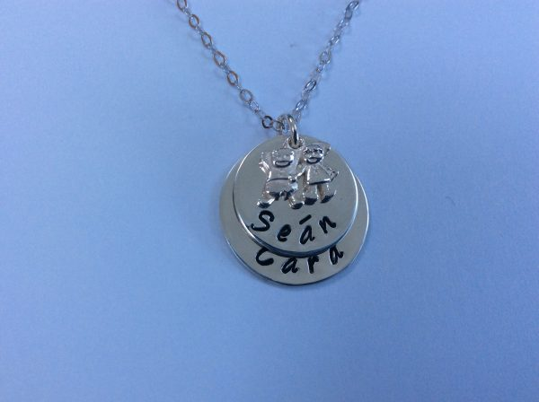 Silver Mum of Two Necklace with Boy and Girl Charm