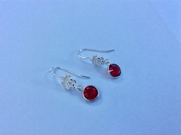 Silver Birthstone with Flower Earrings - A02CDE4A AFC0 485E B4D7 4DE1CFFBC674