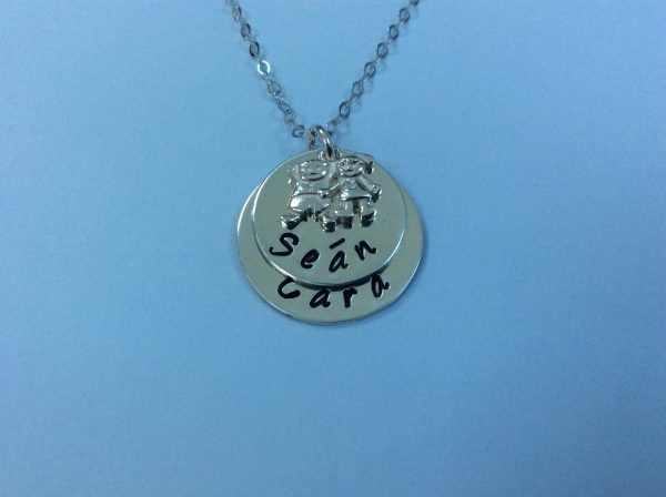 Silver Mum of Two Necklace with Boy and Girl Charm - AE65D34E 8B1C 4653 A058 9AFCB7653455