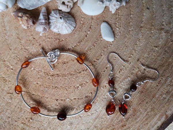 Amber Bracelet & Earring set
