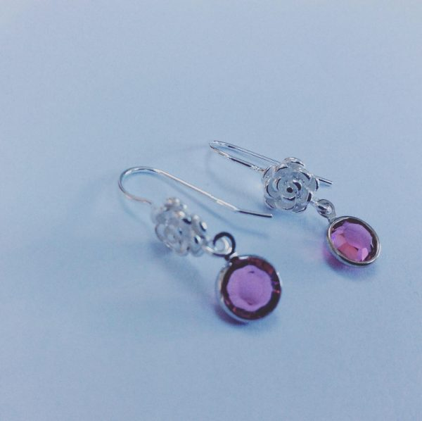 Silver Birthstone with Flower Earrings - C9EC0F5E CD8C 482C 831D 90503AFAD665