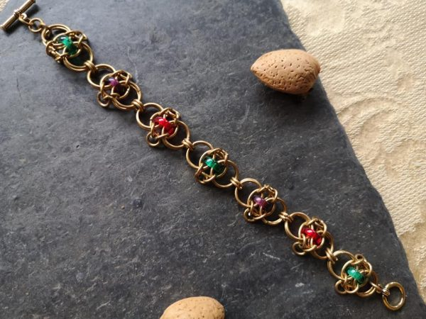 Jewelled Celtic Rings Chainmaille Bracelet