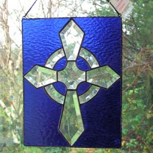 Stained-Glass Celtic-Cross Panel