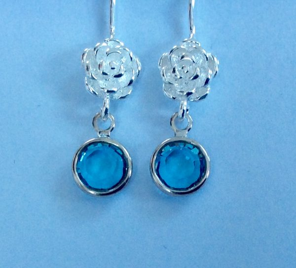 Silver Birthstone with Flower Earrings