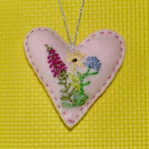 Light Pink Floral Embroidered Heart