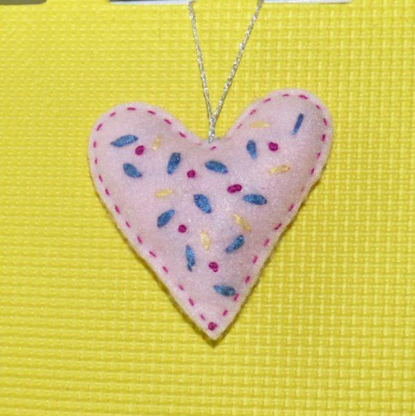 Light Pink Floral Embroidered Heart - DSC 0946