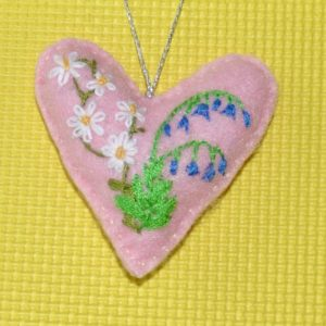 One-of-a-Kind Embroidered Heart -pink