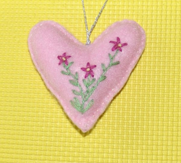 One-of-a-Kind Embroidered Heart - Pink - DSC 0949