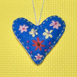 One-of-a-Kind Embroidered Heart - Blue with Flowers
