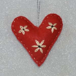 Red Embroidered Heart with 3 flowers