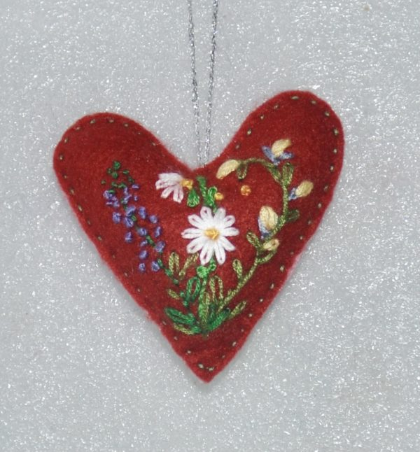 Red Embroidered Heart Daisy Floral
