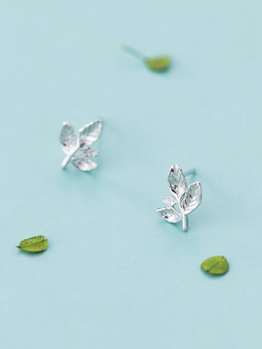 New Growth Leaf Stud Earrings - E048 925 Sterling Silver