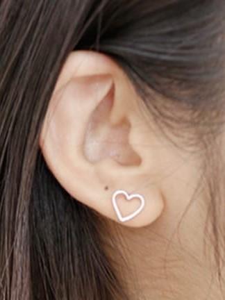 Open Heart 925 Sterling Silver Stud Earrings - E049 model