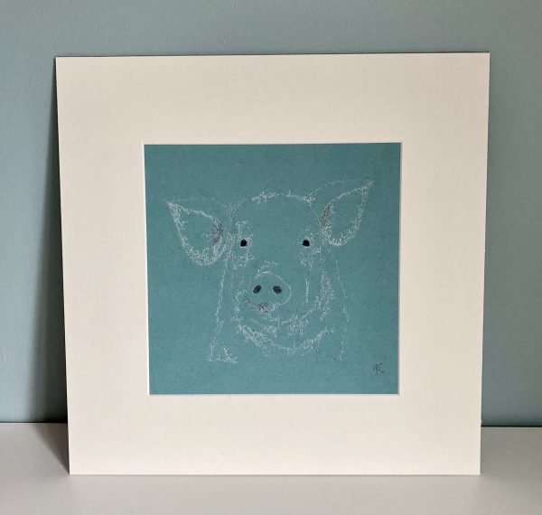 Embroidered Pig Wall Art