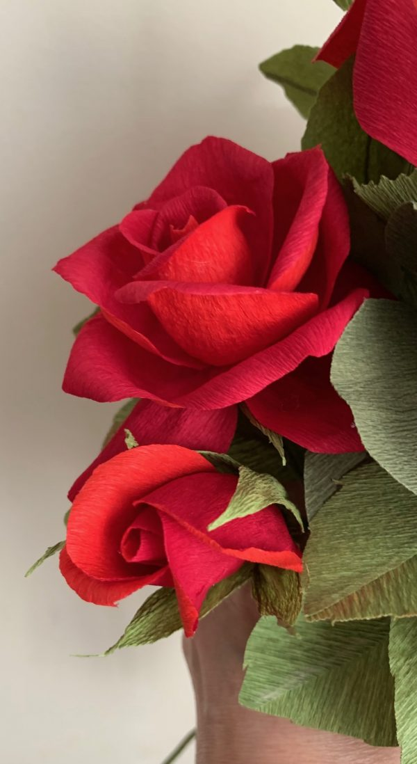 Crepe Paper Flower Bouquet Red Roses - IMG 1255