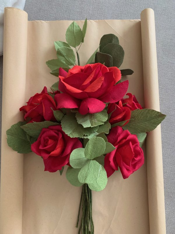 Crepe Paper Flower Bouquet Red Roses - IMG 1257 rotated