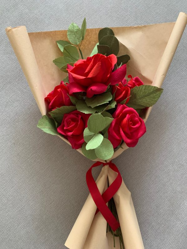 Crepe Paper Flower Bouquet Red Roses