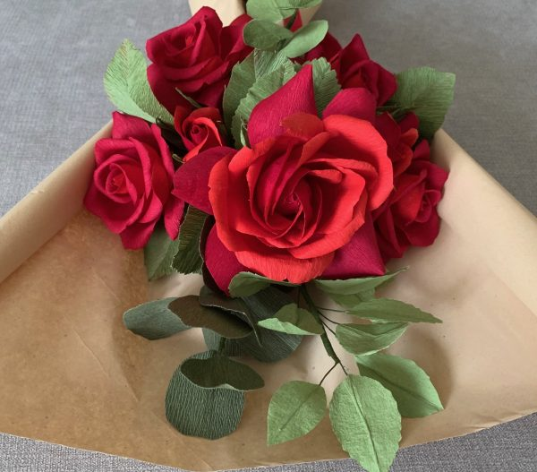 Crepe Paper Flower Bouquet Red Roses - IMG 1262 1